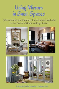 Light is an important element in home decor. Light enhances the furnishings and the colors in the room. So using mirrors in small spaces is an effective way to enhance the size and depth of the room by reflecting the natural light. Room Ideas Bedroom, Bedroom Decor, Wall Decor, Bohemian Kitchen, Small Space Solutions, Desk Areas, Home Desk, Bedroom Night Stands, Modern Light Fixtures