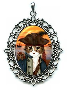 Pirate Cat Necklace Pirate Rat Captain Cat Cameo Pendant Ship Sunset 40x30mm Gift for Cat Lovers Jewelry
