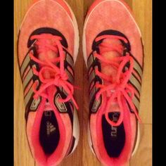 Women's Adidas Running Shoes- Size 8.5 Women's Adidas running shoes. They are a size 8.5 and they are pink. I have only worn them a couple of times, but I did not like the way they fit. They are in really good condition. Practically new! Adidas Shoes Athletic Shoes