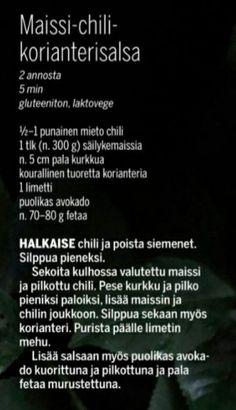 Maissi-chili-korianterisalsa kurkku feta avokado limetti grillaus grilliruoka lisäke side order Feta, Personalized Items, Cooking, Kitchen, Brewing, Cuisine, Cook