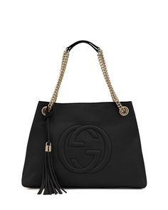 Soho+Leather+Chain-Strap+Tote,+Black+by+Gucci+at+Neiman+Marcus.