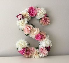"Large Floral Letter, 19"", 21"", 24"", 27"", Large Flower Letter, Floral Number, Shabby Chic Decor, Vintage Wedding Decor, Girl Nursery Letter"