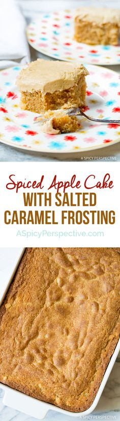 Moist Decadent Apple Cake with Salted Caramel Frosting on ASpicyPerspective.com