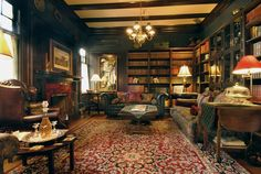 Classic library with tartan upholstery - love the green walls,mix of fabric and leather, beautiful rug, lots of seating. Library Room, Dream Library, British Colonial, British Columbia, Home Office, Classic Library, English Decor, Home Libraries, Library Design