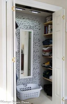 How to turn a regular closet into a walk-in; I'd consider using pull-out drawers instead of shelves, and IKEA sells horizontal pants hangers that would allow extra organization on the hanging bar