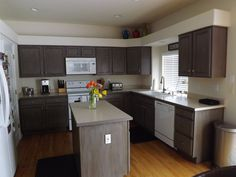 diy kitchen cabinet reno we used rustoleum cabinet transformation kit with paint color federal gray. beautiful ideas. Home Design Ideas
