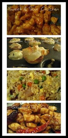 Make a Homemade Chinese Meal! Sweet & Sour Chicken, General Tso's Chicken, Fried Rice, Cream Cheese Wontons, and Sweet & Sour Dipping Sauce....SOOO yummy!!
