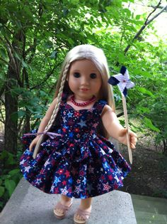 American Girl Doll Clothes Custom Couture Patriotic Dress Constructed Using a Liberty Jane Pattern, Necklace, Hair Ribbons