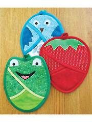 Great for gifts! Strawberries, Frogs & Birds Oh My! Pot Holder Sewing Pattern