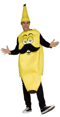 Banana Adult Halloween Costume Mustache Hat One Size Funny Man Yellow - deal for men Food Costumes, Buy Costumes, Halloween Costumes For Girls, Halloween Town, Spirit Halloween, Halloween Masks, Baby Halloween, Girl Costumes, Adult Costumes