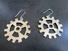 Sterling Silver Gears Earrings by fentondesign on Etsy