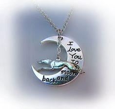 T'aime jusqu'à la lune et retour gravé collier en argent (Greyhound, Whippet, Galgo, Lurcher)
