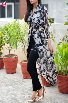 Buy Black & White Printed Floral Georgette Asymmetric Long Kurti by Colorauction - Online shopping for Kurtis in India Dress Indian Style, Indian Dresses, Indian Outfits, Kurta Designs Women, Kurti Neck Designs, Long Kurti With Jeans, Stylish Kurtis Design, Kurti Designs Party Wear, Indian Designer Outfits