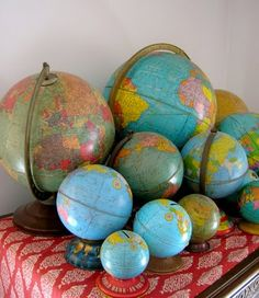 how unique the globes with the green oceans are!