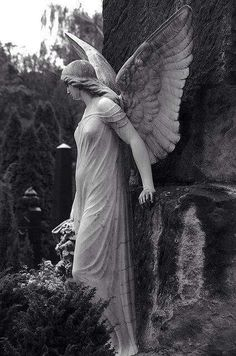 Since this scene is in a church graveyard, an angel statue seems appropriate. Cemetery Angels, Cemetery Statues, Cemetery Art, Angels Among Us, Angels And Demons, Statue Ange, Old Cemeteries, Graveyards, I Believe In Angels