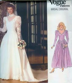 Bridal dress and petticoat - Vogue vintage sewing pattern - Size 12