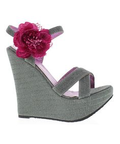 Take a look at this Gray Morena 11 Wedge Sandal by MAKERS SHOES on #zulily today!