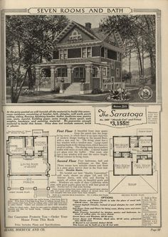 We lived in this exact home in Rolfe, Iowa. Nothing in the world like a Sears Home. The Saratoga, as seen in the 1921 Sears catalog.knowing I'm on the street where you live! Architecture Design, Architecture Drawings, Vintage Architecture, Residential Architecture, Sears Catalog Homes, Vintage House Plans, Vintage Homes, 1920s House, Second Empire