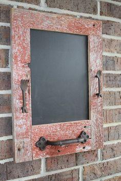 repurposed red barn wood chalkboard.