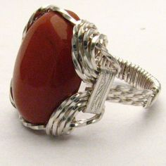 Handmade Sterling Silver Wire Wrap Red Jasper Ring by JandSGems, $40.50