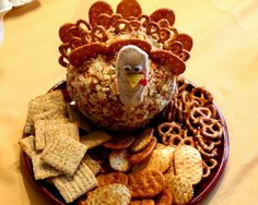 Cheeseball Turkey. I would use bell pepper for the head and beak ,and olives for the eyes!