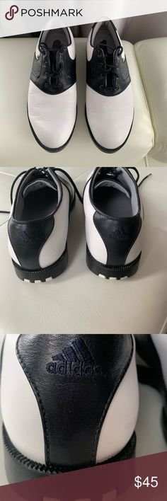 ff0d1783a05 Adidas z-traxion men s golf shoes. Shoes are white and black leather.  Bottom of the shoes have Golf spikes z-traxion.
