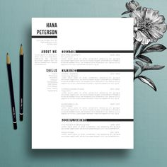 professional resume template cover letter template references template ms word creative resume template instant digital download hana