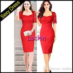 2015 New Red Lace Party Cocktail Dresses With Short Sleeves V Neck Pencil Dresses For Women Flowers Lace Dresses Street Style from Lockin,$10.16 | DHgate.com
