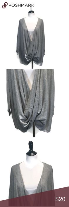 """Forever 21+ Plus Grey Sweater Wrap Forever 21+ Plus light grey scoop 3/4 Sleeve sweater wrap great for layering and extremely soft!   In good condition - free of holes, stains and rips   Measurements - Bust: 55"""" Length: 30""""  No trades/try ons at this time but bundle discounts always available!  044 Forever 21 Sweaters Crew & Scoop Necks"""