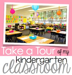 Kindergarten classroom tour with LOTS of bright colors