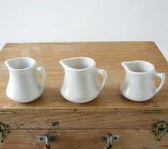 3 Small White Pitchers Rustic Charm by BeeJayKay on Etsy