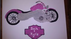 Big Brother, Little Sister footprint art to form Motorcycle!! Awesome!