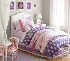 I love the Pottery Barn Kids Julianna Bedroom. Color scheme good for Violet. Pottery Barn Kids, Baby Shower Labels, Estilo Shabby Chic, Purple Bedding, Princess Room, Shabby Chic Bedrooms, Little Girl Rooms, Girls Bedroom, Bedroom Ideas
