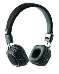 Auriculares plegables Bluetooth 4.2 con detalles de tela. Batería recargable Li-Po 150 mAh. Incluye cable jack y cable de carga micro USB. Duración de reproducción estimada: 3 horas.