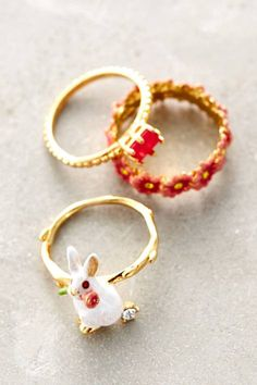 Garden Rabbit Ring Set by Les Nereides | Pinned by topista.com