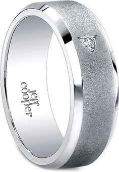 Jeff Cooper Satin Finish Men's Diamond Wedding Band-7mm  : This men's wedding band by Jeff Cooper features one trillion diamond set along a satin finish band with polished beveled edges.