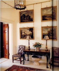 Another example of hanging art from a picture rail with fine chain from Robert Kime's London flat entry