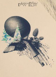 tattoo vintage design balloon wing bird