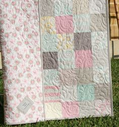 Reserved For Jaime Shabby Chic Baby Girl Quilt, Cottage Style, Pastel Light Pink…