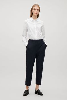 COS image 4 of Straight tailored wool trousers in Blue