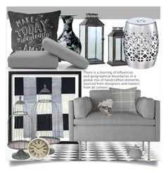 """Gray decor"" by budding-designer ❤ liked on Polyvore featuring interior, interiors, interior design, home, home decor, interior decorating, A&B Home, Lladró, Universal Lighting and Decor and One Bella Casa"