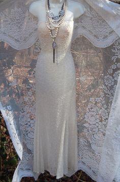 Ivory wedding dress beaded silk mermaid by vintageopulence on Etsy