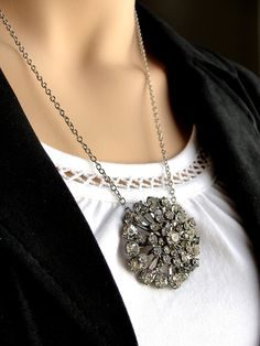 Vintage Brooch Necklace Repurposed Rhinestone by TheBrassyLady, $28.00