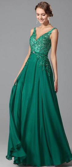 [USD 191.51] Sexy Plunging V Neck Embroidery Prom Dress Evening Gown (00151704)