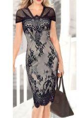 Black V Neck Lace Splicing OL Pencil Dress