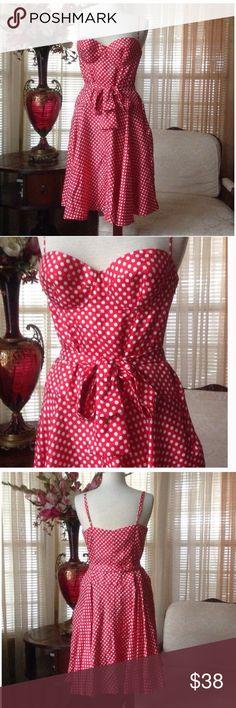 Moda international red silk polka dot dress In excellent condition. No signs of wear. Moda International Dresses