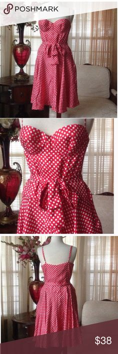 🎈reduced🎈Moda international red polka dot dress In excellent condition. No signs of wear. Made of 100% silk. Moda International Dresses