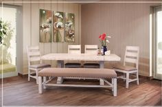 """GREENVIEW 79"""" PEDESTAL - DISTRESSED WHITE Dining Set with 4 Chairs & Bench"""