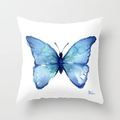Blue Butterfly Watercolor Throw Pillow, society6...c $17.50