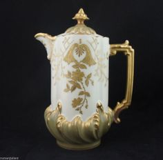 Antique 1890s Elite Limoges Coffee Pot Floral Hand Painted GOLD Bawo Dotter  on Ebay